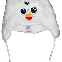 WHITE FURBY ADULT KNIT HAT