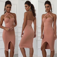 New 2016 Padded Push Up Sexy Party Dress Celebrity Fashion Halter Bodycon Dress Backless Split Womens Sexy Dresses Club Party