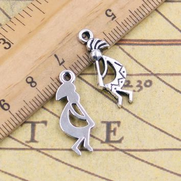 10pcs Charms native american kokopelli 24*9mm Tibetan Silver Plated Pendants Antique Jewelry Making DIY Handmade Craft