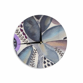 "Li Zamperini ""Organic"" Blue Multicolor Watercolor Wall Clock"