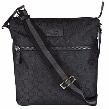 Gucci Men's Nylon GG Guccissima Web Trim Crossbody Messenger Bag (Black/Medium)