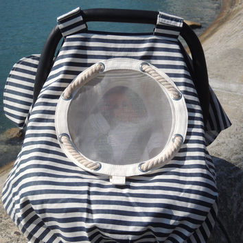 Baby Car Seat Cover, Baby Car Seat Canopy, Nautical Stripes