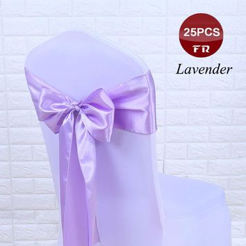 Satin Chair sashes Chair Sash Bow of Wedding Satin Ribbon Cloth Chair Sash Bowknot of Wedding Banquet Party Hotel Pew Chair Bows