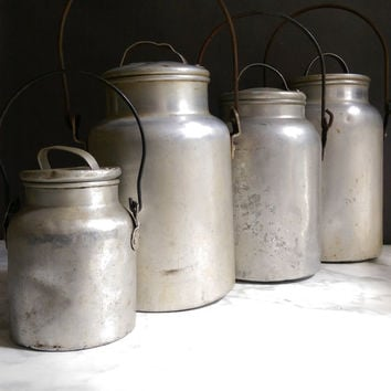 Antique Milk Cans/ Antique Lunch Pails/ Vintage Milk Can/ Milk Cans/ Aluminum Milk Cans/ Rustic Milk Pails/ Primitive Storage/ Farm Kitchen