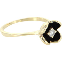 Vintage Diamond Flower Black Enamel Stack Ring 14 Karat Gold Estate Fine Jewelry 6