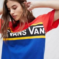 Vans Summer Fashion Women Men Loose Color Matching Letter Print Short Sleeve Round Collar T-Shirt Top I12728-1