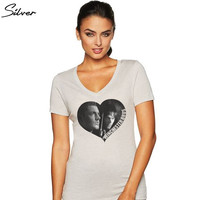 Winchester Bros Heart - Women's V-Neck Shirt | Supernatural T-Shirt | Dean Winchester | Sam Winchester