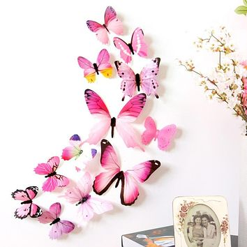 Wall Stickers 12pcs Decal Wall Stickers Home Decorations 3D Butterfly Rainbow  PVC Wallpaper for living room