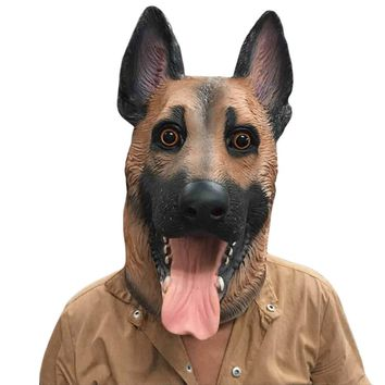 Dog Head Latex Mask Full Face Adult Mask Breathable Masquerade