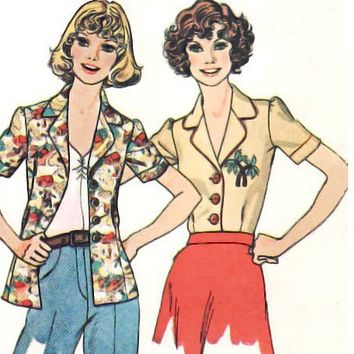Vintage Blouse Sewing Pattern Puff Sleeve Collar Yoke Small Uncut