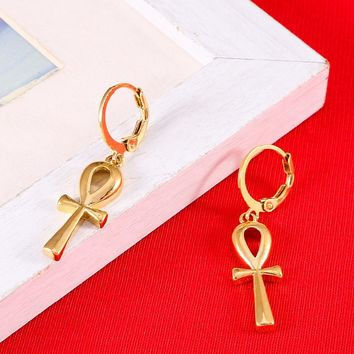 Classic Ankh Earrings Gold Color Egyptian Cross Jewelry Women Egypt Hieroglyphs Crux Ansata Earrings