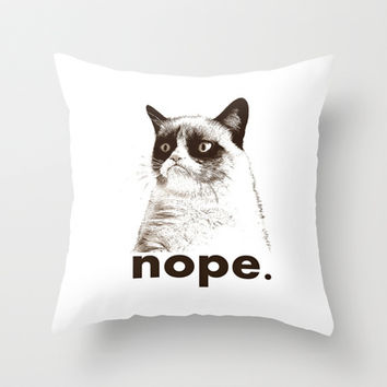 GRUMPY CAT - Nope (version 2) Throw Pillow by John Medbury (LAZY J Studios)