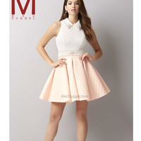 Mac Duggal 30120 Blush & Ivory Quilted Beaded Turtle Neck Short Dress 2015 Homecoming Dresses