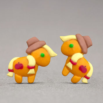 Applejack Stud Earrings - Inspired By My Little Pony, For Girls, Horse Lovers Gifts
