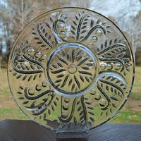 Federal Glass Feather Pattern Relish Tray