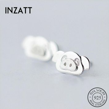 INZATT Punk Personality Cute Cartoon Pig Stud Earrings Real 925 Sterling Silver Fashion Jewelry For Women Birthday Party Gift