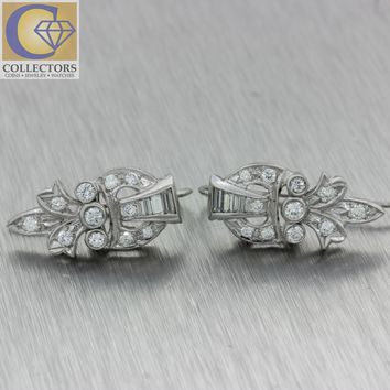 1930 Antique Art Deco Platinum 1.0ctw Diamond Fleur-de-lis Cluster Hook Earrings