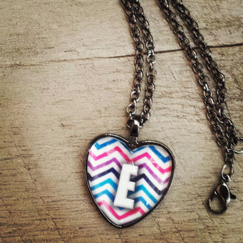 Chevron heart shaped initial necklace