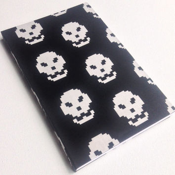 Digital 8-bit skull black and white 160 paged journal 5.5X8.5