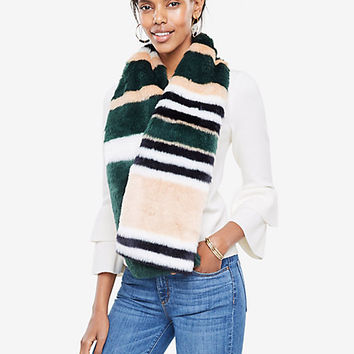 Striped Faux Fur Stole | Ann Taylor