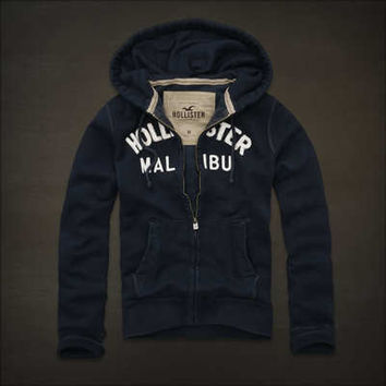Hollister by Abercrombie Mens Malibu Navy Blue Hoodie Jumper SMALL  HOLLIWEAR