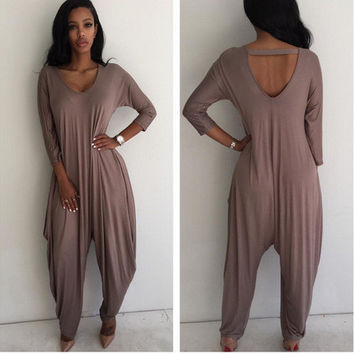 Khaki Long Sleeve Jumpsuits