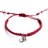 Om Hemp Bracelet Cranberry Macrame Friendship