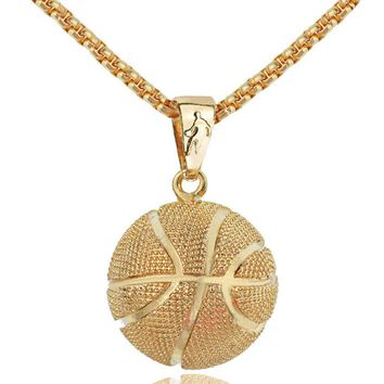 Basketball Pendant Necklace Gold Stainless Steel Chain Necklace Women Men Sport Hip Hop Jewelry Basketball Lovers Gift