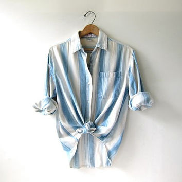 Vintage Chambray Shirt. Striped Ombre Cotton Shirt. Natural white blue cotton. Pocket Shirt.
