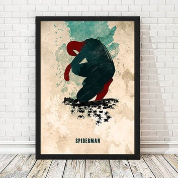 Spiderman Watercolor Poster, Retro Poster, Minimalist Poster, A3 Print (11.7x16,5 inches)