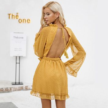 Lace Up Backless Elegant Long Flare Sleeve Sash Mini Dress