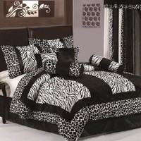 Chezmoi Collection 8-Piece Black and White Micro Fur Zebra with Giraffe Design Comforter 90-Inch by 92-Inch Bed-in-a-bag Set, Queen Size Bedding: Home & Kitchen