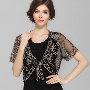 Summer Crochet Lace Mesh Shrug Bolero Women V Collar Short Sleeve Embroidery Flower Vintage Cardigan Shawl Coat