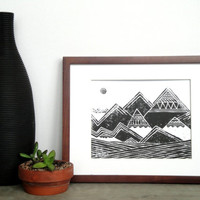 SALE - Print - Abstract Tribal Mountains Illustration Linocut / 8 x 10 Wall Art / Black, Gold, Silver, Gray, Blue, Green, Red