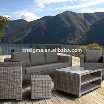 Exclusive aluminum frame poly rattan outdoor sofa designs