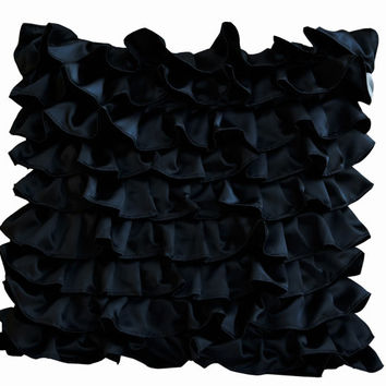 Black throw pillow - Black Satin with Ruffles- Decorative cushion cover - Ruffle throw pillow - Ruffle throw cushion - Gift pillow - 18x18
