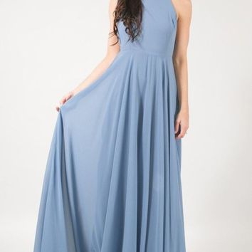 Reign Dusty Blue Flowy Maxi Dress