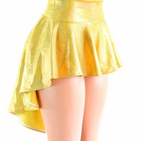Gold Sparkly Holographic Hi Lo Rave Skirt