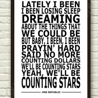 One Republic - Counting Stars - White  Lyric Art Typography Print Poster A4 & A3