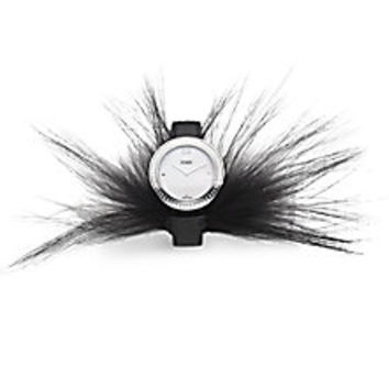 Fendi - Fendi My Way Stainless Steel, Fox Fur & Saffiano Leather Strap Watch - Saks Fifth Avenue Mobile