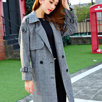 Gray Long-Sleeve Notched Button Trench Coat