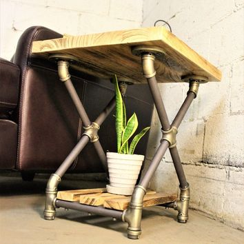 Houston Industrial Chic Side Table In Brushed Brass Gray Steel Combo