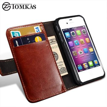 TOMKAS 4S Flip Wallet PU Leather Case For iPhone 4 4S Cover Vintage Coque Phone Bag Cases For Apple iPhone 4S With Card Holders