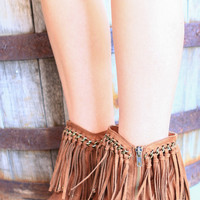 TALK OF THE FESTIVAL FRINGE BOOTIES IN TAN