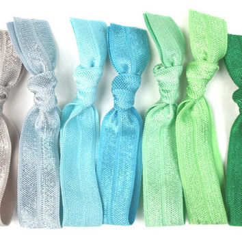 Elastic Hair Tie Grab Bag (7) Emi Jay, Anthro Like Elastic Yoga Hair Bands - Ribbon Hair Accessories - Knotted Cloth Bracelets