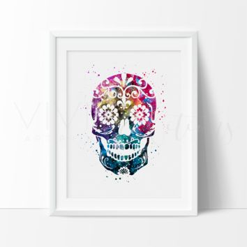 Day of the Dead, Sugar Skull 2 Watercolor Art Print