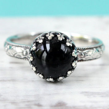 Black onyx ring sterling silver 3 mm wide floral diamond pattern band stackable stacking ring 8 mm gemstone in a crown gallery wire setting