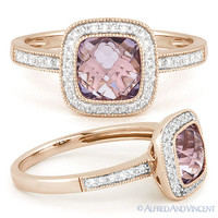 1.82ct Pink Amethyst & Round Cut Diamond Pave Halo Engagement Ring 14k Rose Gold