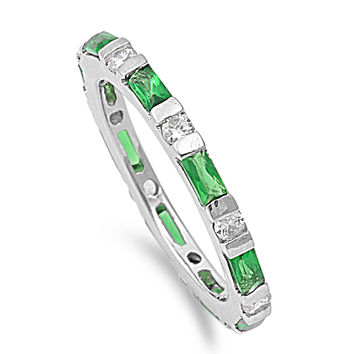 925 Sterling Silver CZ Alternating Stones Eternity Baguette Simulated Emerald Ring 3MM
