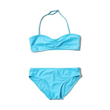 strappy bandeau two-piece swimsuit